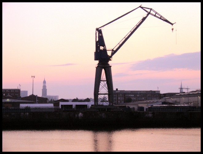 Crane at Steinwerder during sunrise